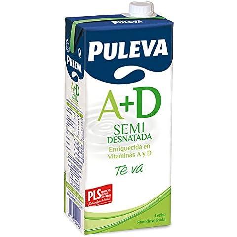 Puleva Leche Semidesnatada Vitaminas A+D - Pack 6 x 1 L - Total: 6 L