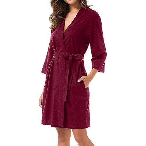 feiXIANG Damen Nachtwäsche Nachthemd Kimono Bademantel Frauen Solide 3 4  Ärmeln Sleepwear Dress. 0f67b38e05
