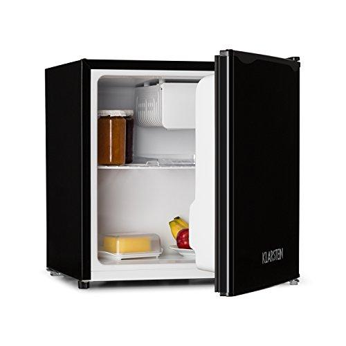 Klarstein KS50-A • Minibar • Mini Nevera • Nevera para Bebidas • A + • 40 L • 47 x 49,5 x 44,4 cm • Silenciosa • 1 Balda • Compartimento en Puerta • Mini congelador con Bandeja antigoteo • Negro