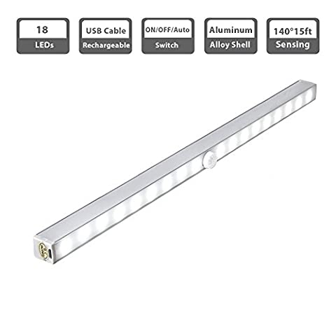 Rechargeable Motion Sensor Wardrobe Light, Cynthia Wireless PIR 18 LEDs Night Light Lighting Bar - Stick-on Anywhere, for Corridor Stairway Kitchen Cabinet Closet Drawer Under Counter Cupboard (White)