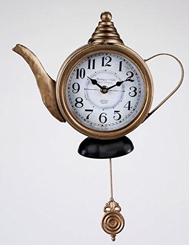 formano Wanduhr nostalgisch Uhr Küchenuhr Teekanne 29cm Antik