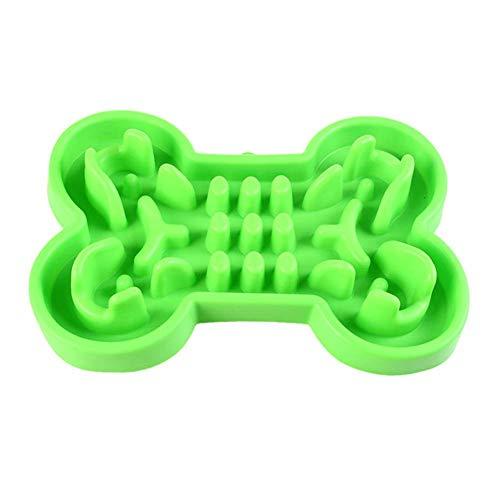 MonLook Haustier Schüssel Silikon Knochen Geformt Anti-Chock Konvex Langsam Futterspender Näpfe für Hunde Katzen - Grün, Large (Dass 1 Guy)