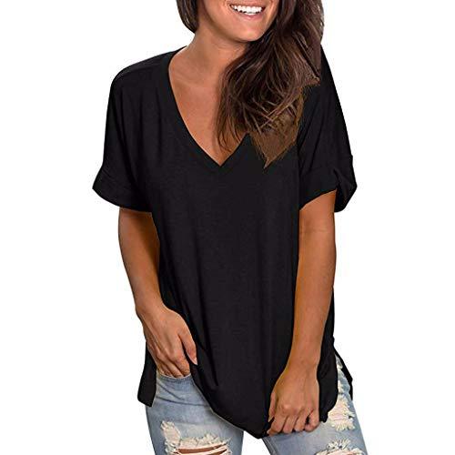 T-Shirts Frauen Sommer V-Ausschnitt Solide Kurzarm Shirt Casual Tunika Tops Bluse - Solid-knopf-front-shirt