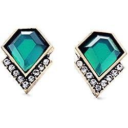 LARESDOMI Vintage Gold-tone incrustaciones de cristal esmeralda de imitación Incrustada Classic Art Deco Pendientes de tuerca