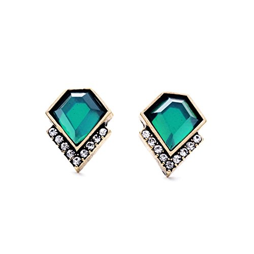 Lares Domi Vintage Gold-tone incrustaciones de cristal esmeralda de imitación Incrustada Classic Art Deco Pendientes de tuerca