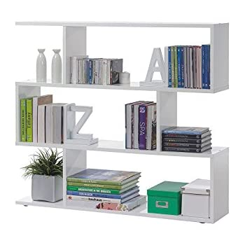 Zig Zag Large White with Black Gloss Bookcase Room Divider: Amazon ...