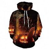 Eaylis Herren Mantel Swatshirt Halloween Knochen 3D Digitaler Geometrischer Druck Kapuzenpullover Mantel