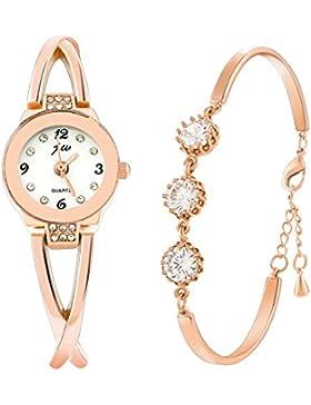 Souarts Damen Geschenkset Armbanduhr Quartzuhr Analog mit Batterie mit Strass Armband