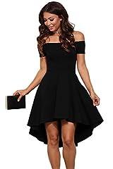 Idea Regalo - abito cerimonia da donna mini abito vestito damigella elegante festa scollo barchetta-Black-XXL