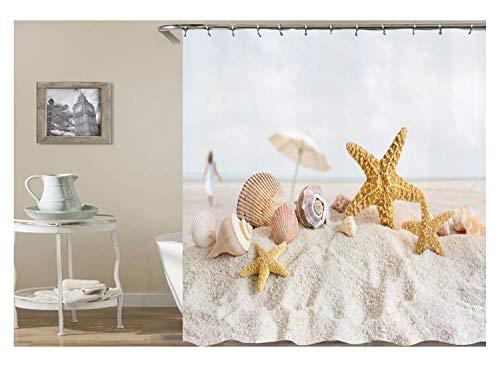 KnSam Duschvorhang Anti-Schimmel Wasserdicht Badewanne Vorhang Bad Vorhang für Badezimmer Strand Seestern Muschel 100% PEVA inkl. 12 Duschvorhangringen 120 x 180 cm (Muscheln Vorhänge Badezimmer)