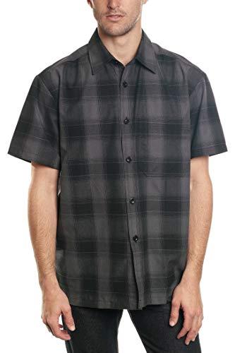 YAGO Herren Hemd aus Baumwolle mit Knopfleiste und Brusttasche - Grau - 4X-Groß - Baumwoll-plaid Arbeitshemd