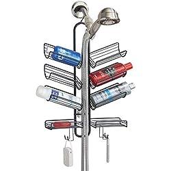 mDesign étagère de douche à suspendre - serviteur de douche pratique en métal à fixer sans percer - 8 paniers et 4 crochets pour les produits de bain - noir mat