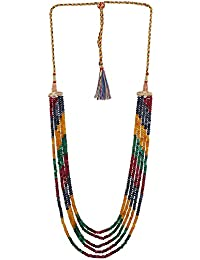Ratnavali Jewels Five Layer Multi-Colour Real Ruby Emerald Onyx Stone Beads Necklace for Women and Girls (Multi Color Five Layer) (Five Layer)