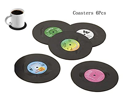Bllatta Set of 6 Drink Coasters with Gift Box - Vinyl Record Retro Mats,Good Grip,Tabletop Protection Prevents Furniture Damage,Large 4.1 inch Size