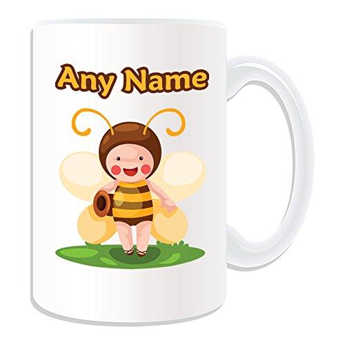 Personalisierte Geschenkbox mit Elf Biene Honey Tasse, Märchen, Retro-Design weiß) Name und Nachricht an ihr einzigartiges