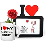 TiedRibbons® Gift For Husband On His Birthday I Love You Photo Frame(Image Replaceable) With Coffee Mug(325ml) And Red Rose