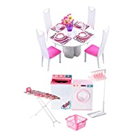 CUTICATE 1:6 Dollhouse Miniature Dining Table Chairs Set with Laundry Accessories Washing Machine Coat Stand Kids Pretend Play Toys