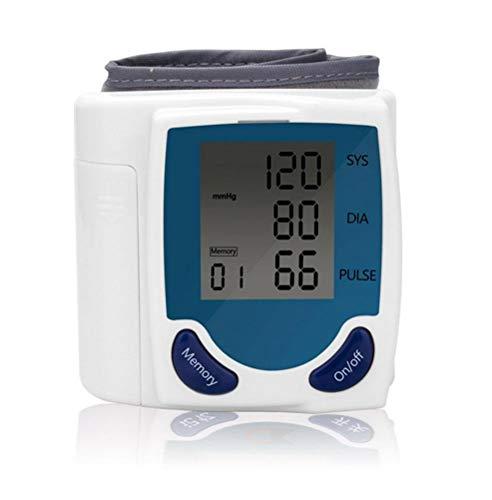 El monitor de presión arterial de muñeca, almacenamiento de memoria, pantalla LCD inteligente mide automáticamente la presión sistólica diastólica