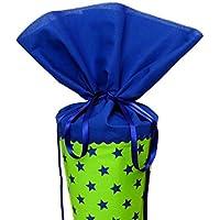 Schultüte aus Stoff in königsblau und hellgrün Sterne Zuckertüte für Jungen und Mädchen