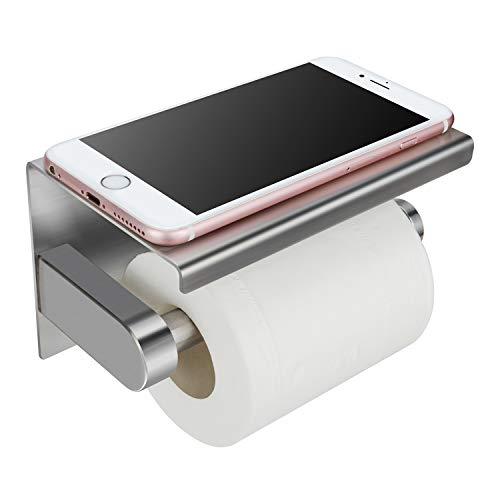 Toilettenpapierhalter Ohne Bohren mit Ablage, KidsHobby WC Papierhalter Edelstahl WC Papier Halterung mit Mobiler Telefon Aufbewahrungsfläche Wand Montage, Selbstklebend