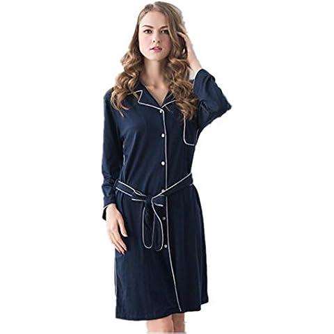 LIUDOU Camisa larga manga camisón camisón Rebeca casa primavera otoño prendas mujer , blue , m