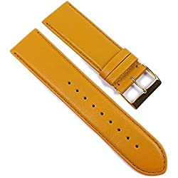 Beach Replacement Band Watch Band Leather Kalf mustard yellow 21705G, width:28mm