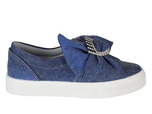 Chiara Ferragni Femme CF1558 Bleu Tissu Chaussures De Skate