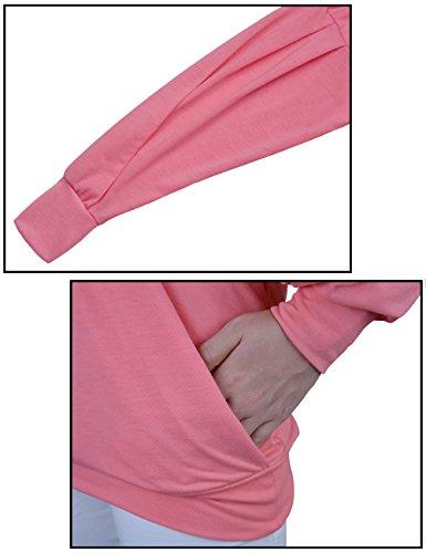 Yidarton Damen Langarm Oberteile V-Ausschnitt Lose Oversize Lang Sweatshirt Pullover Tops Rosa