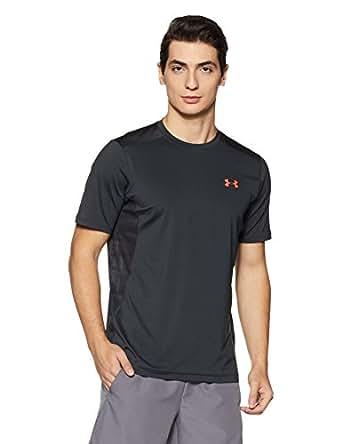 Under Armour Men's Plain Slim Fit T-Shirt (1257466_X-Large_Anthracite/Marathon Red)