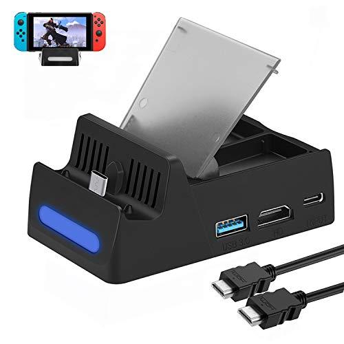 HEYSTOP Kompatibel mit Nintendo Switch TV Docking Station mit HDMI Kabel,Tragbarer Ladeständer HDMI 4K Adapter für Nintendo Switch mit USB 3.0 und Type C(Stores 4 Games) (Hdmi-kabel Hinweis: 3, Tv)