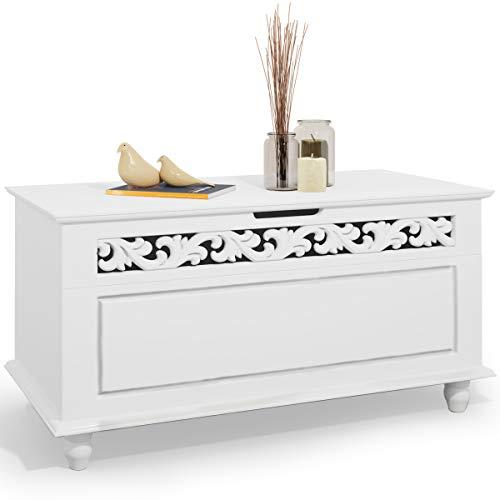 #Deuba Holztruhe weiß Jersey im Landhaus Design | hohe Belastbarkeit | 80 x 40 x 48 cm – Sideboard Truhe Truhebank Wäschetruhe Holz Kiste Anrichte Schrank#