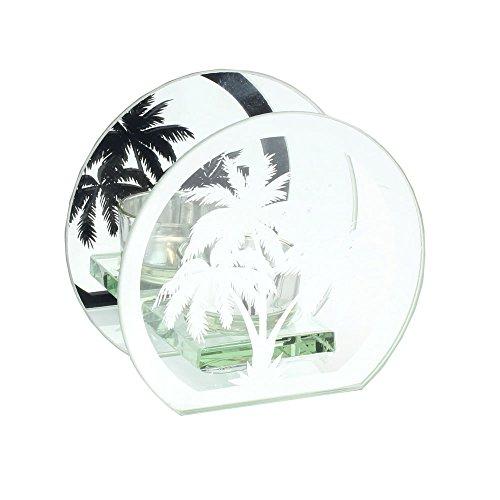LEONARDO HOME Palme Silber Spiegel Glas Teelichthalter
