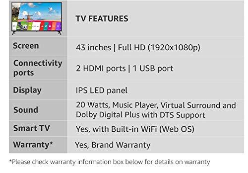 LG 108 cm (43 Inches) Full HD LED Smart TV 43LJ554T (Ceramic Black
