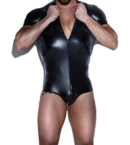 Lace Front-reißverschluss (Männer Spaß Unterwäsche Sexy schwarz Lackleder Front und hinten Reißverschluss Jumpsuit Nachtclub Bühnen Performance Bekleidung Größe S-XXL , black , xxl)