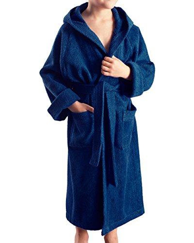Arus Kinder-Bademantel mit Kapuze für Jungen und Mädchen, 100% Baumwolle Frottee, lang, Marine, 152