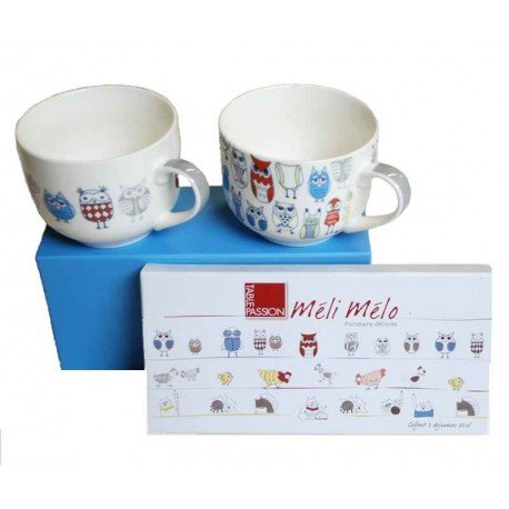 TABLE PASSION Coffret 2 tasses Jumbo 70 cl Chouette