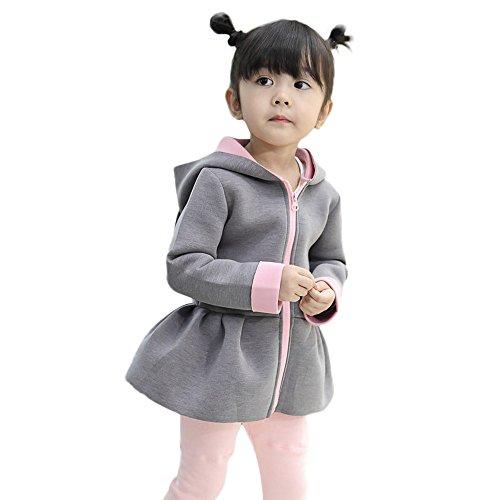 Kleider Kinderbekleidung Honestyi Kind Baby Mädchen Herbst Winter Kaninchen Weste Hoodie Mantel Warme Outwear Kleidung (Grau,80)