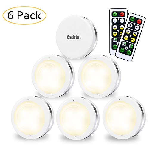 Luci Armadio LED, Cadrim 6 Luci Notturne a LED Senza Fili,con 2 Telecomandi, Luce dell'armadio Luminosità Regolabili, Luci a Batteria (Non incluso), per Illuminazione dell'armadio,Vetrine, Armadio