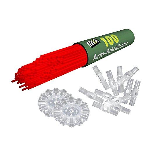 KNIXS Arm-Knicklichter inkl. 3D-Verbinder (100 Stück), Kreisverbinder und Lochverbinder, rot, intensiv Leuchtend, Kunststoff 20 x 0.5 cm Einheiten