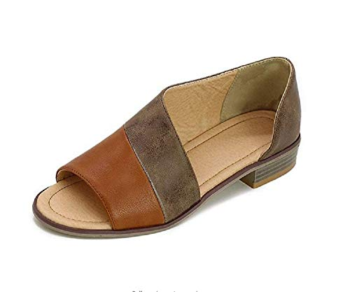 Sfit Damen Sandalen Sommer Roma Schuhe Schnalle Fischmaul Schuhe Flach Peep Toe Shoes Booties Stiefel