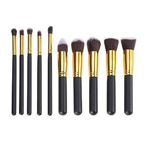 Foxpic 10 PCS Ensembre de Pinceau Maquillage Professionel Fond de Teint Outil Cosmétique pour le Visage - Noir & Or