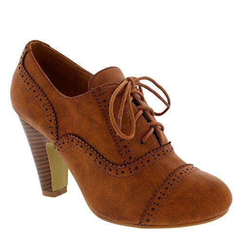 Damen Mary Jane Brogue Schnüren Knöchez Stiefel Arbeit Office Schuhe - Bräune - 38 - CD0064 (Braune Für Frauen Schuhe)