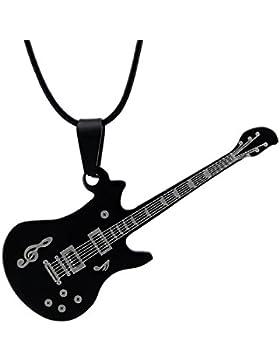 Hanessa Herren Damen-Schmuck Gitarre rötlich Schwarz Halskette Edelstahl Kunst-Leder Geschenk für Mann oder Frau...