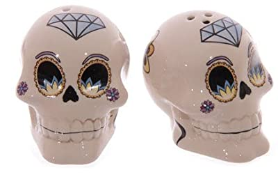 1 x ceramic salt and pepper cruet set - Lauren Billingham Day of the Dead design - assorted colours, one selected at random on despatch