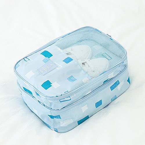 Viaggio tre scarpe da viaggio impermeabile antipolvere scarpe da viaggio borsa classificazione marea custodia geometria blu