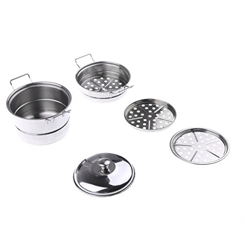 Homyl Kids Stainless Steel Kitchen Cookware - Steamer Pot - Pretend Play Chef Cooking