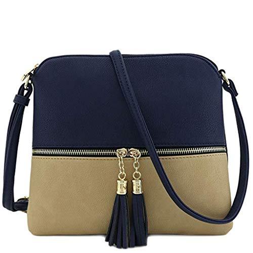 Bfmyxgs Mother es Day Messenger Bag für Frauen Leder Tassel Crossbody Bag Hit Color Shoulder Bag Totes Handtaschen Schultertaschen Rucksack Totes Waist Tasche Tasche Tasche ()