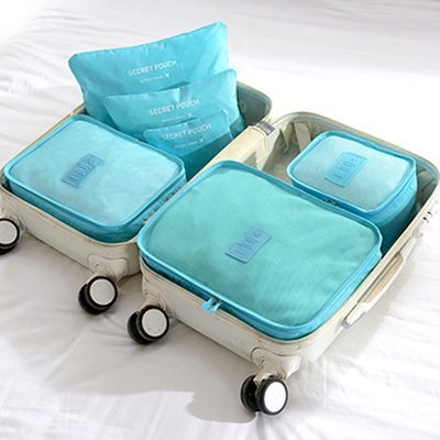 Generic Bluee: 6pcs/set Reisen Lagerung Set Wasserdichte Kleidung Schuhe Tasche Cube Koffer Gepäck Aufbewahrungstasche tragbar Reißverschluss Home Closet Organizer