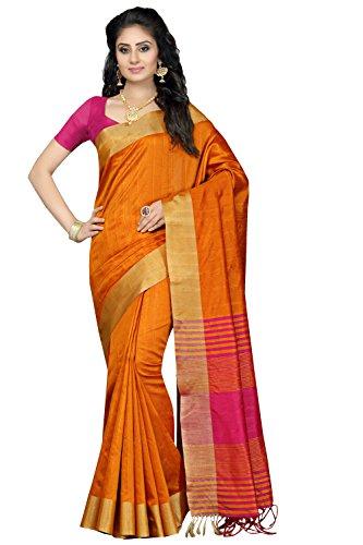 Rani Saahiba Women's Synthetic Saree With Blouse Piece (Prg12_Orange - Pink)