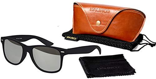 Balinco Hochwertige Polarisierte Nerd Rubber Sonnenbrille im Set (24 Modelle) Retro Vintage Unisex Brille mit Federscharnier (Black-Silver Mirror)